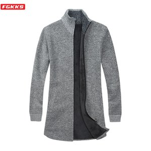 FGKKS Winter New Men Cardigan Sweaters Casual Brand Men's Plus Velvet Thick Sweaters Stand Collar Long Section Sweater Coat Male