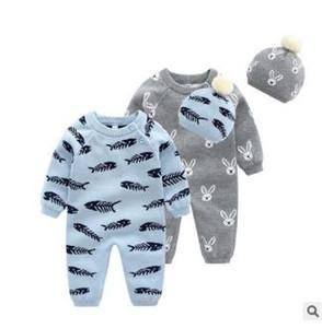 Marca muchachas de los bebés de los mamelucos niños del diseñador de la manga larga de punto mono infantil del envío War Horse algodón Romper la ropa del muchacho gratuito