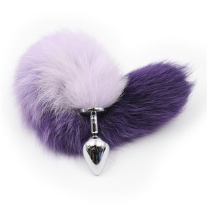 High Quality Metal  silicone Anal Toys Fox Tail Anal Plug Erotic Toys Butt Plug Purple or Pink Adult Sex Toys for Women and Men Sexy Butt Pl