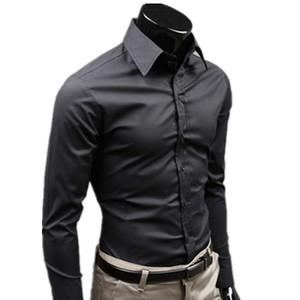 Fest Farbe Schwarz Marke Kleidung Hemd Social Masculine Langarm Slim Fit Men Shirt Business Casual Herren Shirt