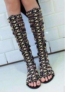 Altın Studs Kadınlar sapanlar Kafes Sandal Boots Seksi Açık Burun Bayanlar Gladyatör Boots Moda Düz Fermuar Geri Yaz