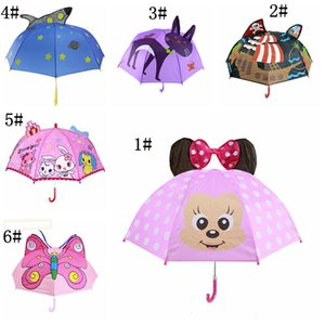Bambini Cartoon Ombrelli Animali Stampa Polyester Sunny Rainy Umbrella Lion Coniglio Gatto Hanging Long-handle Etero Umbrella Regali DBC DH1081