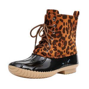 SHUJIN Leopard for Lady Duck Boot Waterproof Rain Boots Lace Up Ankle Christmas Winter Women Shoes Y200115