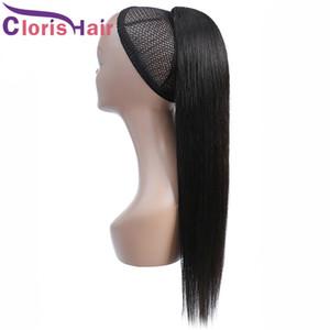 Rabo-extensões do cabelo Raw Indiano reta de seda cordão rabo de cavalo com grampos Em Natural Color 100% humano rabo de cavalo Cabelo Fast Ship