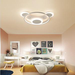 LED plafonnier dessin animé ours personnalité créatrice chambre led plafonnier Nordic home ultra-mince éclairage intérieur RC Dimmable Pendant Lamp