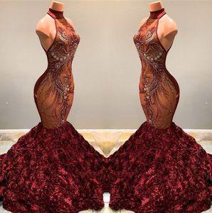 2020 화려한 부르고뉴 공주 댄스 파티 드레스 높은 목 레이스 페르시 Appliqued 3D 장미 꽃 선발 대회 파티 드레스 Vestidos BC1181
