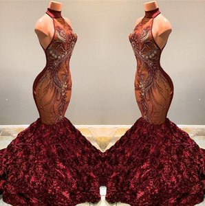2020 lindo Borgonha Mermaid Prom Vestidos alta Neck Lace frisada Appliqued 3D Pageant Partido Rose Flores Vestidos Vestidos BC1181
