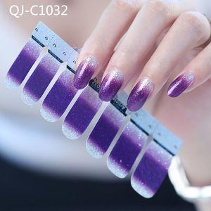 Nail 14pcs / foglio di polvere glitter sfumatura di colore Adesivi Nail Full Cover avvolge polacco Sticker fai da te autoadesivo decorazione di arte