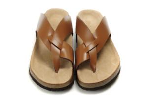 Famous Brand Arizona Mit Orignal Marken-Logo Männer-Frauen-flache Sandalen Casual Classics Flip Flop Summer Beach Hausschuhe echtes Leder Hausschuhe