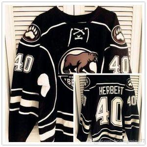 Nadir Vintage 2015-16 Hershey Bears # 40 Caleb Herbert kaliteli Hokeyi Jersey Nakış Dikişli özelleştirme herhangi numarası ve adı formaları