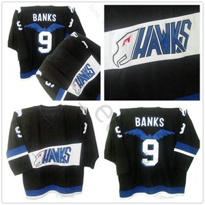 Mighty Ducks Jersey Hawks #9 Adam Banks Jersey Mens 100% Stitched Embroidery Hockey Jerseys Shirt Black Color Free Fast Shipping