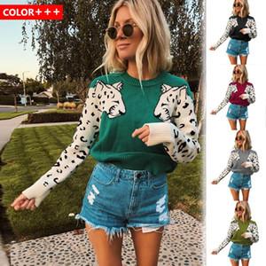 2020 Herbst und Winter neue Art-Strickjacke-Frauen-heißen verkauf Arm Leopard-Muster stricken Langarm Pullover Top Weihnachten Sweater