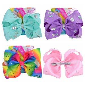 Yeni Jojo siwa Saç taklidi Jojo yaylarını toka Saç Aksesuarı 8 inç Gökkuşağı Renkli Kız bebekler Saç Klipleri fiyonklar varmak