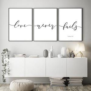 Art Bible Verses Tipografia cristã da parede da lona Pintura inspirada das citações posters and prints Recados Pictures Home Room Decor