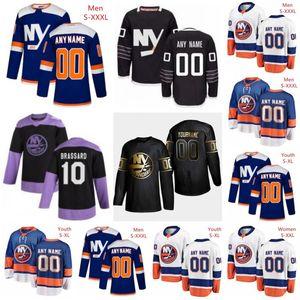 Personalizados New York Islanders 13 Mathew Barzal 55 Johnny Boychuk 6 Ryan Pulock 53 Casey Cizikas 27 Anders Lee Homens Mulher Kids Youth Hockey Jersey