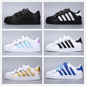 Adidas Superstar Super star 2019 bambini Superstar Originale nero ologramma Iridescent Junior oro ragazze ragazzi Superstars Sneakers Super Star bambini Sport scarpe casual