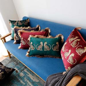 Luxus-Haus Dekor Quaste Samt Kissenbezug dekorative Leopard cojines rechteckigen Schlafsofa Couch Wurfkissen- Fall