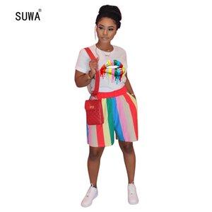 SUWA 2020 Novo Estilo Casual Sports 2 Piece Set camiseta manga curta Top + Shorts Contraste listrado Mulheres Define Roupa Streetwear