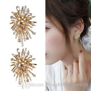 New Korean Personality Exaggerated Firework Earrings Silver Needle Temperament Lady Cold Style Luxury Crystal Earrings Designer Craft Jewelr
