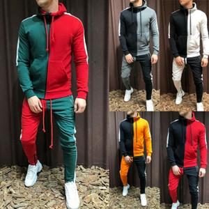 2020 autunno casuale uomini tuta Imposta modo 3D Gradient Sweatsuit cappuccio Felpa Sweatpant Slim jogging palestra vestito di pantaloni uomo
