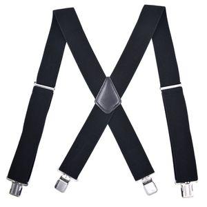 Bretelles Hommes 5cm de large Réglable Clip-On X- Retour Élastique Noir Rouge Gris Heavy Duty Braces Bretelles Hommes