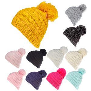 Çocuklar Kış Beanie Şapka Çocuk Örgü Tığ Ponpon Şapka Örme Kürk Topu Kapaklar Moda Açık Sıcak Kap GGA2626