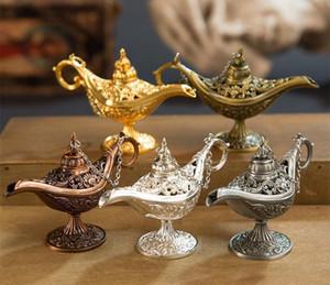 Ausgezeichnete Märchen Aladdin magische Lampe Weihrauch Brenner Vintage Retro Teekanne Genie Lampe Aroma Stein Home Ornament Metall Handwerk