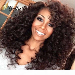 Peruvian Hair Wigs remy Human Hair Full Lace Wigs Natural Color Gluless Lace Curly Wigs for Black Women 150%Density Free shipping Bella Hair
