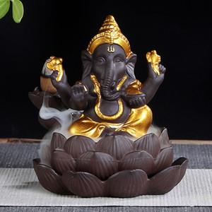 Encens brûleur en céramique Bouddhisme Elephant Bouddha Lotus base Cascade refoulements Incense