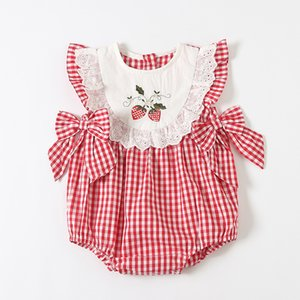 2020 New Baby Embroidery Bodysuits Plaid Summer