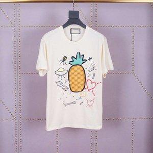 2020 İlkbahar Yaz Lüks Avrupa İtalya Ananas Tişört Moda erkek tasarımcı tişörtleri Kadınlar Pamuk kısa kollu En