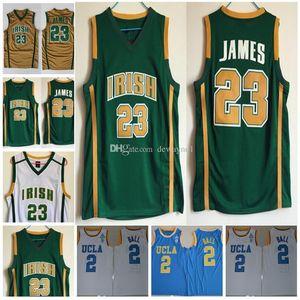 الرجال NCAA كلية جيرسي المدرسة الثانوية الايرلندية # 23 UCLA بروينس الكرة 2 Lonzo أبيض أصفر الأرجواني الأسود HOT ملابس كرة السلة