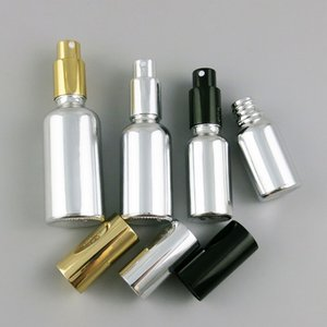Refillable Silver Glass Bottle With Gold Black Silver Sprayer 10ml 30ml 50ml 100ml 1OZ Perfume Glass Containers