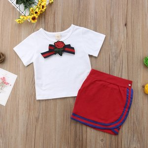 1-6Y Kids Baby Girls Summer Clothes Sets Casual White Basic T-shirt Short Skirts 2PCS Outfit Children Girls Dress