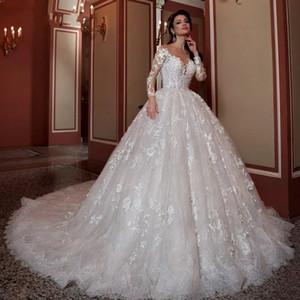 Perline Paillettes 3D Floral Appliques Fiori Abiti da sposa 2020 Pizzo Vintage Ball Gown Abito da sposa Robe De Mariee con sottoveste gratis