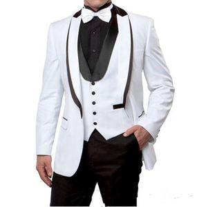 Новые Поступления Одна Кнопка Белый Жених Смокинги Пик Нагрудные Groomsmen Лучший Мужчина Мужские Свадебные Костюмы (Куртка+Брюки+Жилет+Галстук) 709