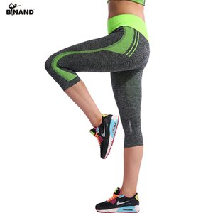 BINAND Women High Elastic Capri Tights Running 3 4 Length Fitness Yoga Pants Gym Exercise Quick Dry Stretch Sports Trousers T200601