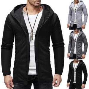 2019 Yeni Moda Erkekler Kapşonlu Sweatshirt Hip Hop Manto Kapüşonlular Ceket Uzun Kollu Cloak Erkek Coat Dış Giyim