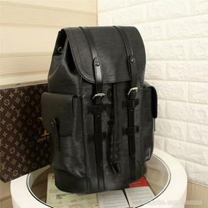 Marke Rucksack Mens Vintage-Rucksack-Schulter-Beutel-Entwerfer-Luxus-Rucksack Große Kapazität Christopher Tasche Schulranzen, Schwarz