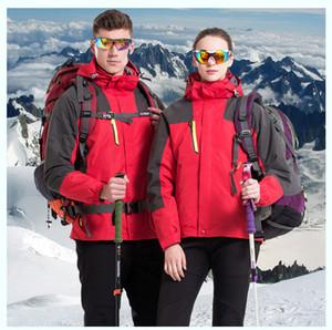 Couple de vestes de ski pour hommes vestes de sport en microfibre 3 en 1 coupe-vent avec capuche garder au chaud Windbreaker fleece à l'intérieur des vestes imperméables