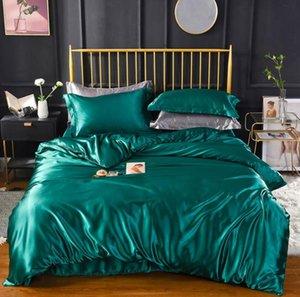 Folha verde de seda de cetim Colcha edredon cobrir Plano / cabido linho cor sólida Bedding Set Rainha tamanho king size 4pcs cobertura macia colchão
