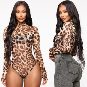 Womens Lady Sheer Mesh Pelle di leopardo aderente Mock Neck Body tuta della tuta