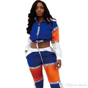 2 Pacs Sporty Women's Tracksuit Hooded Short Jackets Letter Splicing Slim Long Pants Suits Two Piece Set Outfit