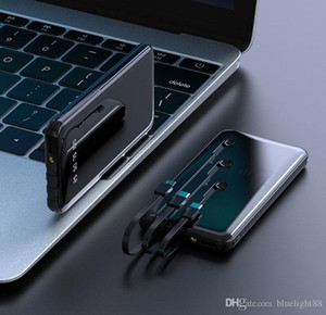 Power Bank 20000mAh Portable Fast Charging Full Screen Built-in 3 Cables Powerbank External Battery for Xiaomi Samsung