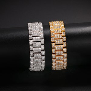 Neue Entwurfs-Hip Hop CZ Stein Bling Iced Out-Uhrenarmband-Armband-Armband für Männer Charm Schmuck, Gold, Silber