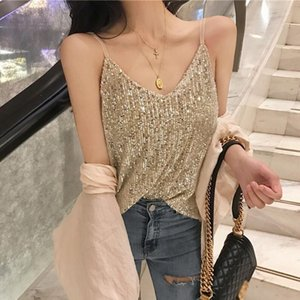 Ladies vest sequined halter top ladies sexy v-neck fashionable high quality sleeveless vest free of shipping