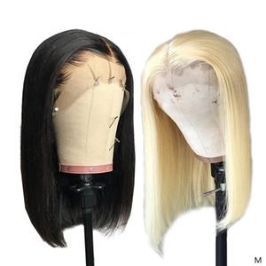 13x4 613 mel louro e perucas de cabelo 1B Natural Preto Bob Wigs Lace frontal Remy Human Curto descorados Nós Glueless Bob peruca 150%