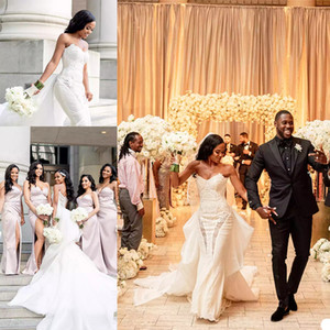 African Mermaid Wedding Dresses with Detachable Train Plus Size vestidos de novia Sweetheart Lace Bridal Gowns robes de mariée