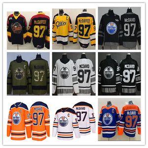 2019 All Star Edmonton Oilers Connor McDavid Trikot 97 College Otters Premier OHL COA Eishockey Uniformen Orange 100. Jubiläum Schwarz