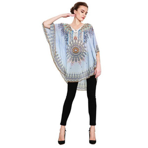 1 Pcs Ethnic style blouse women print stitching top Women Casual Loose Muslim Printing Round Neck Bat Sleeve Chiffon Shirt